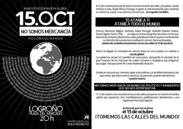 Manifestación 15 OCT a las 20:00 h. desde la Plaza del Mercado de Logroño